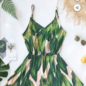 Tropical Dream Banana Leaf Print Dress